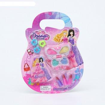 Набор косметики для девочки волшебная бабочка тени 4 цв.по 1 гр+ап-р + 3 з
