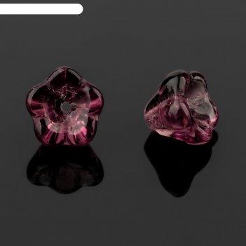 Бусина стеклянная preciosa цветок (набор 2шт), 8*7мм, цвет аметистовый