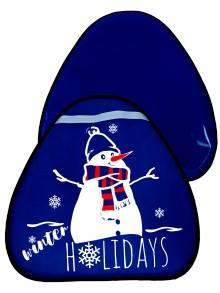 Мт11417 сани-ледянка треугольная снеговик цвет синий, 52*54см