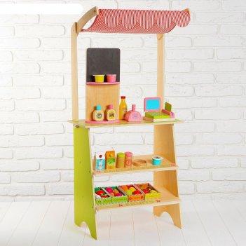 Игровой набор играем в магазин, деревянные продукты в наборе