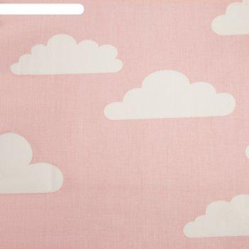 Ткань набивная «облака» 5 м, цвет розовый, ширина 160 (± 5 см), сатин, 100