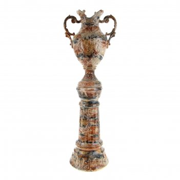Ваза напольная форма астория на колонне 120 см, цвет малахит коричневый