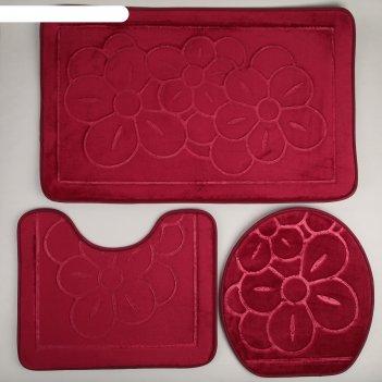 Набор ковриков для ванной и туалета лютики 3 шт, цвет бордовый