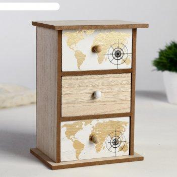 Шкатулка дерево комод 3 ящика золотая карта мира 21х15х11 см