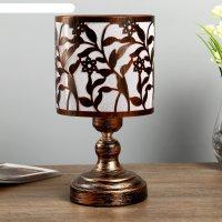 Лампа настольная антерос 1х40вт е27 220в патинированная бронза 14х14х27 см
