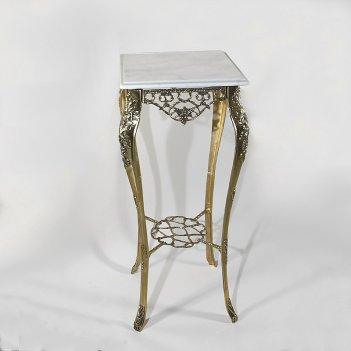 Столик высокий с мраморной столешницей порту (bp-50212-d)