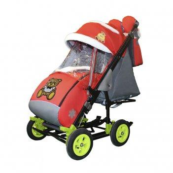 Санки-коляска snow galaxy city-3-2 мишка с бабочкой на красном на больших