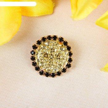 Декоратив. пуговица круг черепаха, диаметр 3 см, цвет золотой с черными ст