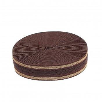 Резинка, ширина 3,5 см, 10м, цвет коричневый с бежевыми полосками