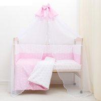Комплект в кроватку 7 пр. день и ночь (борт из 4-х частей), цвет розовый,