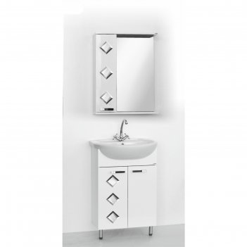 Набор мебели квадро 55: тумба с раковиной + шкаф-зеркало