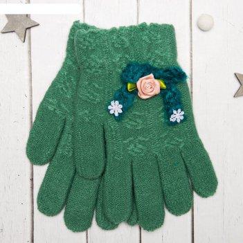Перчатки молодёжные розочка, размер 20 (р-р произв. 10), цвет зелёный, апп