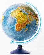 Глобус земли физический рельефный 320 серия евро