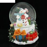 Сувенир снежный шар снеговик с карамелькой музык., механич.