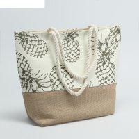 Сумка текстильная ананасы, 31*13*36, отд на молнии, зелёный