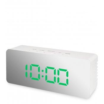 Ял-07-23/3 часы электронные мал. зеркальные (белые с зеленым циферблатом)