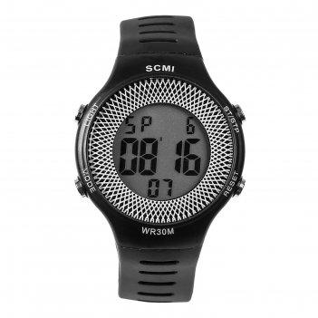 Часы наручные шервуд, электронные, с календарем, l=23 см, черные