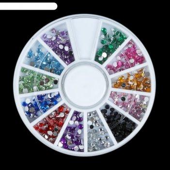 Стразы для декора ногтей, 3 мм, цвет микс