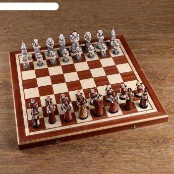 Шахматы мраморные, 55,5х55,5 см, король h=10.5 см, пешка h-7см