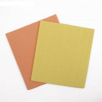 Салфетки для влажной уборки губчатые 15x17 см, целлюлоза, 2 шт