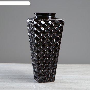 Ваза ратанг, чёрная глазурь, 41 см