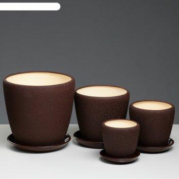 Набор кашпо грация 4 шт: 10л, 4,5л, 2,3л, 1,2л шелк шоколад