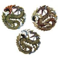 Панно дракон с символом инь-ян цветной микс