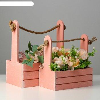 Набор кашпо деревянных 2 в 1 (25.5x15x30; 20x12x23) прованс, розовый