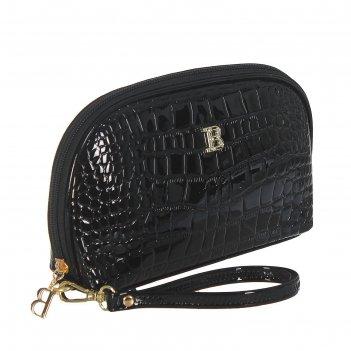 Косметичка п/овал, l-к211, 23*4*15см, 4отд, н/карман, с ручкой, черный