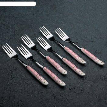 Набор вилок столовых «уют», h=20 см, 6 шт, цвет розовый