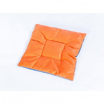 Подушка на стул квадратная 45х45см, высота 5см, велюр синий, оранжевый, си