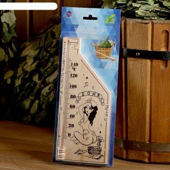 Термометр для бани и сауны деревянный, с картинкой, до 150°c, 26,5x11 см,