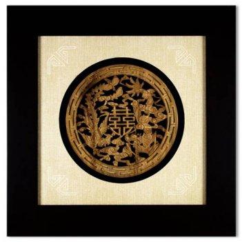 xms-1460 картина деревянный дракон и феникс