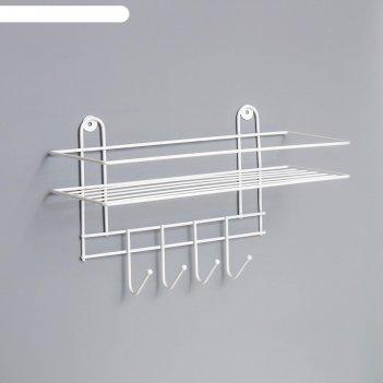 Полка для ванной прямая, 4 крючка, 33x12,5x21 см, цвет белый