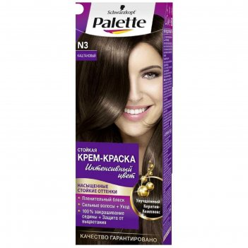 Крем-краска для волос palette, тон n3, каштановый