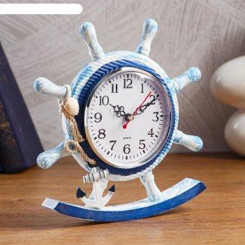 Часы настольные штурвал d=11 см, 22.5х21.5 см, дискретный ход