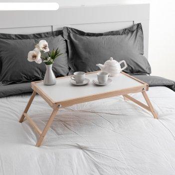 Столик для завтрака ренессанс, 60х40 см, массив ясеня, цвет некрашеный