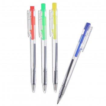 Ручка шариковая, автоматическая, «мини», прозрачный корпус, цветная кнопка