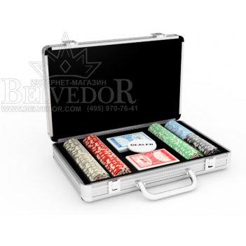 Набор для покера на 200 фишек nuts silver and black 12гр