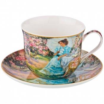 Чайный набор на 1 персону утро в саду, 2 пр., 400 мл.