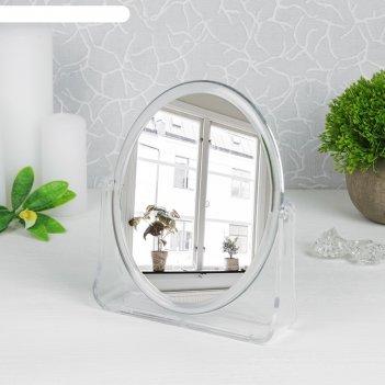 Зеркало настольное на подставке овальное двухстороннее, с увеличением