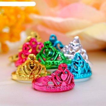 Кольцо детское корона, цвет микс, безразмерное