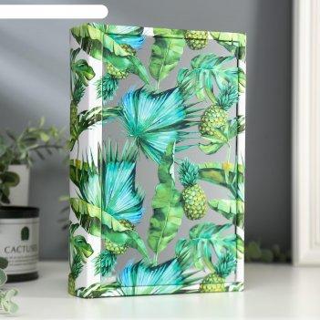 Шкатулка-книга дерево кожзам ананасы зеркало 26х17,5х5 см