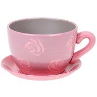 Горшок для цветов с поддоном 800 мл чайная роза розовое