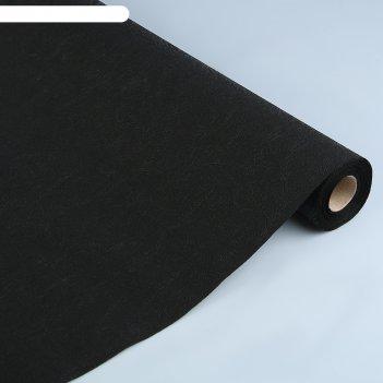 Фетр однотонный рельефный цветы, чёрный, 53 см х 10 м