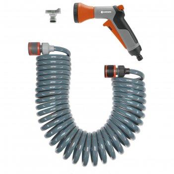Шланг спиральный, d=1/2 (12 мм), l=10 м, комплект фитингов, наконечник для