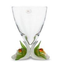 Ваза орхидея, высота: 33 см, материал: хрусталь, цвет: анисово-красный, се