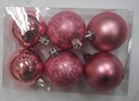 """Набор ёлочных игрушек """"шары"""" из 12шт. 30мм, розовый"""