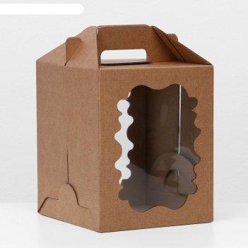 Кондитерская упаковка, крафт, 18 х 18 х 22 см