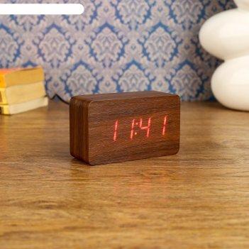 Часы-будильник настольные электронные прямоугольные, цвет орех, цифры крас